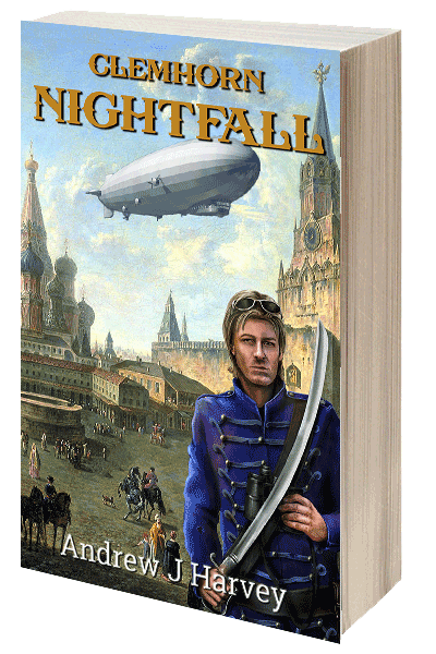 Cover of Nightfall - Donald Clemhorn in front of 18th century building and airship